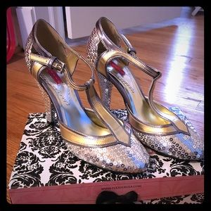 Bordello Silver and Gold Sequin Heels Size 7