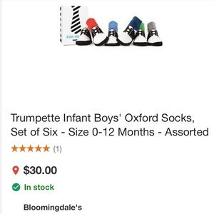 Trumpette Other - New in box Trumpette Baby Oxford socks 0-12 months