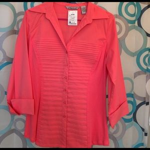 Larry Levine Tops - Signature by Larry Levine coral color Large new