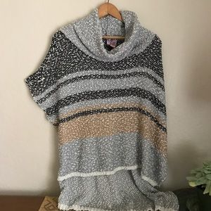 Love on a Hanger  Sweaters - Love on a Hanger striped poncho