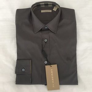 NWT Burberry Men's Dress Shirt Grey Size Small
