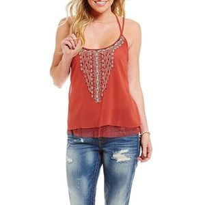 Miss Me Beaded Strappy Tank