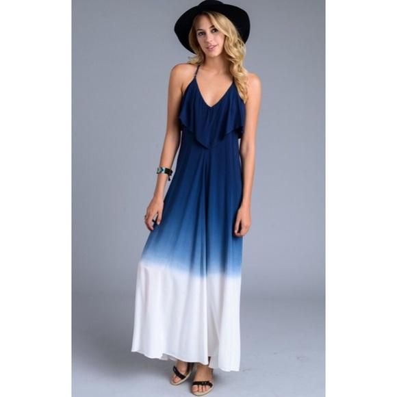 Boutique Dresses Boho Blue Dip Dye Ombre Maxi Dress S M L Xl