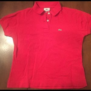 Cropped Red Lacoste polo