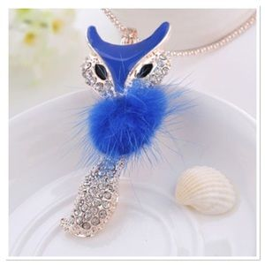 Blue Enamel Fox Pendant
