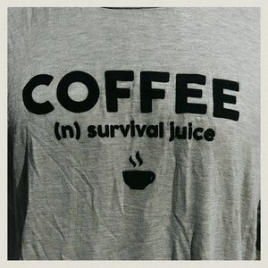 French pastry Tops - NWT Coffee n. Survival juice. Muscle t-shirt