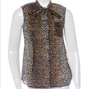 Dolce & Gabbana Tops - D&G Bow-Accent Leopard Print Sleeveless Top