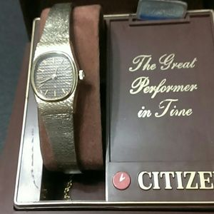 Citizen Jewelry - Citizen Gold Watch with Black Face