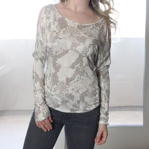 Express Tops - Sale!!! Express White Silver open Shoulder Top
