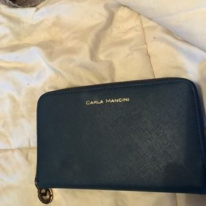carla mancini Handbags - Carla Mancini navy leather checkbook wallet