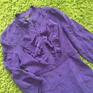 Club Monaco Dresses & Skirts - Club Monaco silk purple button dress