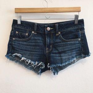 [aeo] • [dark wash jean shorts]
