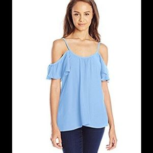 Lucy Love Tops - Lucy Love blue cold shoulder top