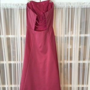 ABS Allen Schwartz Dresses & Skirts - Pink satin backless and strapless gown