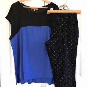 Ellen Tracy blue & black short dolman sleeve top