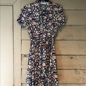 Orvis Dresses & Skirts - Orvis Navy & Red Floral Belted Shirt Dress Size 6