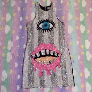 DISCOUNT UNIVERSE EYE SEQUIN DRESS SZ L WORN ONCE
