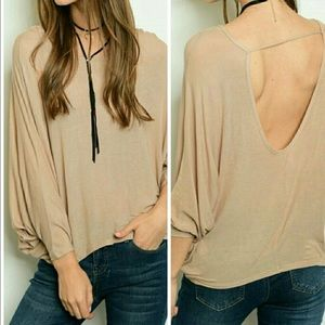 Threadzwear Tops - Open Back Dolman sleeve blouse Tan 🆕runs small!!