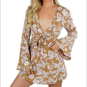 Flynn Skye Dresses & Skirts - Flynn Skye Deep V Floral Mini Dress XS