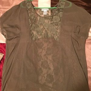 See through lace army green blouse