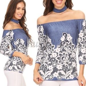Denim Print and White Embroidered Top