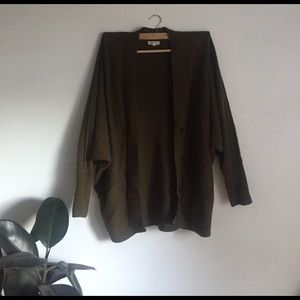 UO oversized slouchy olive green sweater/cardigan
