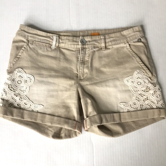 Anthropologie - Pilcro and the Letterpress khaki/lace shorts sz 27 ...