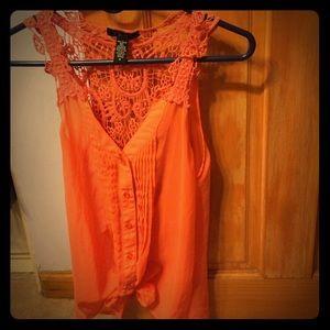 Deb Tops - Orange Sleeveless Blouse Crochet Back