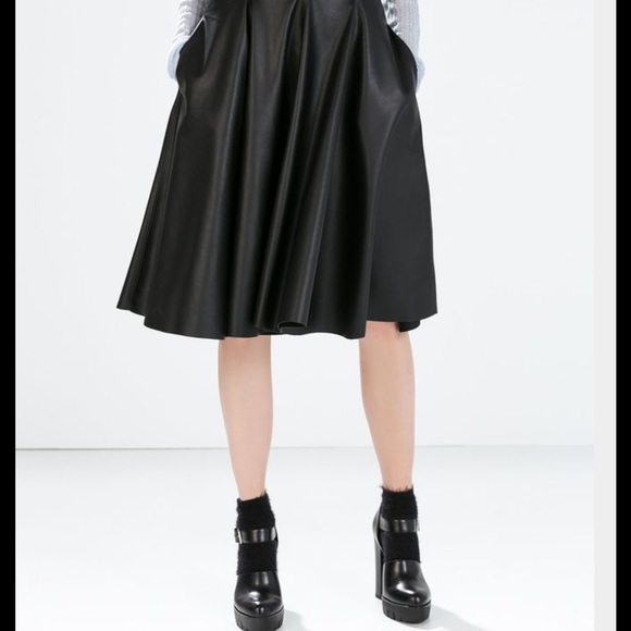 Zara Skirts - BNWT.  Zara A-line faux leather skirt