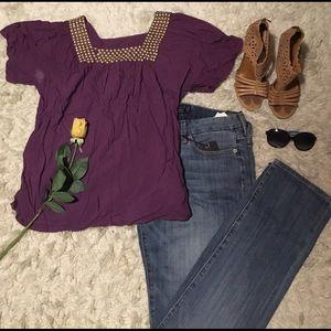 Tops - NWT Purple square gold beaded neckline 💜