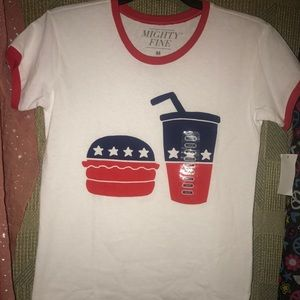 Mighty Fine Tops - 🔥Patriotic burger & soda baseball style tee,NWT🔥