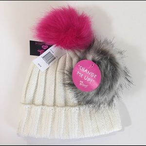 "Betsey Johnson XOX ""Trolls"" Knit Hat w/Fur Pom NWT"