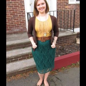 Xhilaration Dresses & Skirts - Hunter Green Lace Pencil Skirt