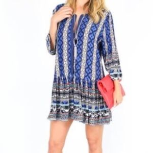 Tribal Aztec Tunic Dress 3/4 sleeves