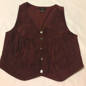 Faux Suede burgundy fringe vest size small
