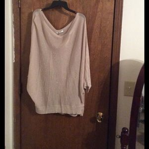 DKNYC Sweaters - Size 3x Sheer Cream Colored Sparkly DKNYC Sweater.