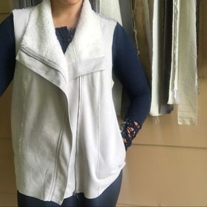 Skies Are Blue Gray Faux Suede Knit Back Moto Vest