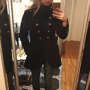 Black Peacoat with buttons