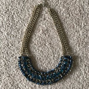 Ribbon and crystals statement Necklace