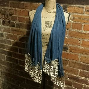 pretty persuasions Accessories - SALE!!!    Blue and tan flowered 3D boutique scarf