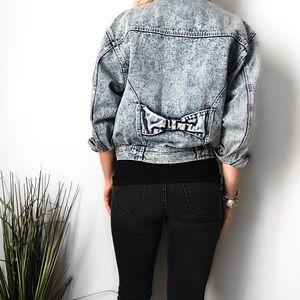 Vintage Bow Acid Washed Distressed Jean Jacket
