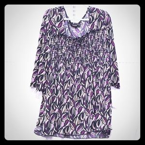 Avenue Tops - Plus size 30/32 Avenue Black purple print Tunic