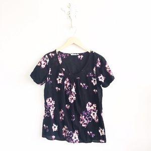 Kimchi Blue Tops - Kimchi Blue Abstract Floral Short Sleeve Shirt