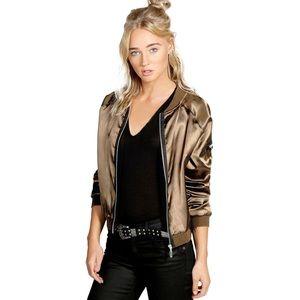 New Vintage Style Chic Bronze Disco Bomber Jacket