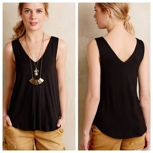 Anthropologie Tops - Anthropologie Bordeau Black V-Neck Swing Top
