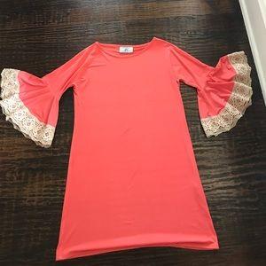 Judith March Dresses & Skirts - Judith March Orange Bell Sleeve Crochet  Dress
