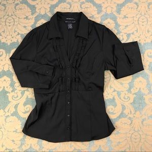 Antilia Femme Tops - Button Blouse 💋 Ruffled Black Top