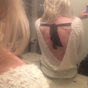 a'reve Tops - Open back top with bow and lace