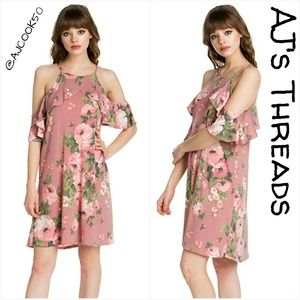 Dresses & Skirts - Floral Print Cold Shoulder Dress •Sale•