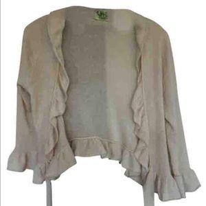Juicy Couture Sweaters - Women's Crop 3/4 Sleeve Ruffle Tie Sweater